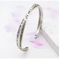 Personalised Double Band Bracelet With Gold Rivet, Gold