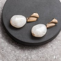 White And Gold Resin Stone Drop Earrings, Gold