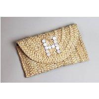 Custom Pearl Letter Initial Straw Clutch Bag