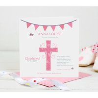 Christening Card For Baby Girl Pink Cross, Pink