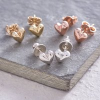 Sweetheart Solid Silver Or Gold Stud Earrings, Silver