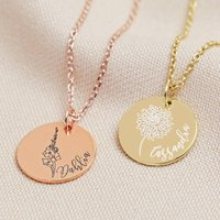 Personalised Gold Sterling Birth Flower Disc Necklace, Gold