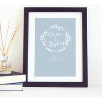 Personalised Wreath Newlywed Wedding Print