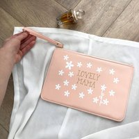 Personalised Faux Leather Daisy Clutch Bag