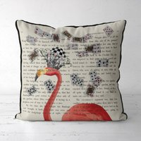 Pink Flamingo Alice In Wonderland Cushion, Pink