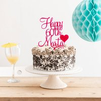 Personalised Birthday Cake Topper With Heart