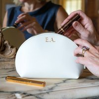 Personalised Leather Make Up Bag, Peach/Mint Green/Mint