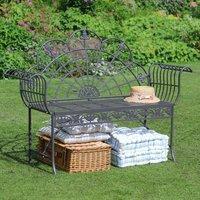 Antique Grey Scrolled Garden Bench