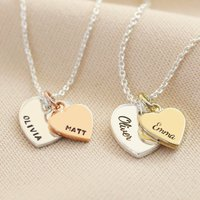 Personalised Solid Gold Double Heart Charm Necklace, Gold