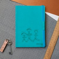 Daddy And Us Child's Drawing Personalised Notebook, Red/Turquoise/Yellow