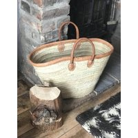 Shopping Basket Leather Trim Long Leather Handle
