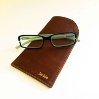 Personalised Tan Leather Glasses Case