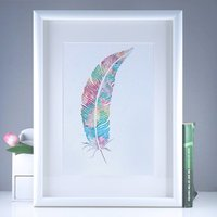 Watercolour Rainbow Feather Giclee Print, Turquoise