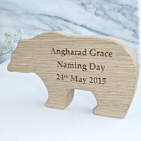 Personalised Naming Day Oak Bear Keepsake