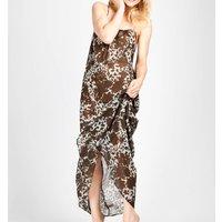 Semi Sheer Floral Print Silk Chiffon Maxi Dress