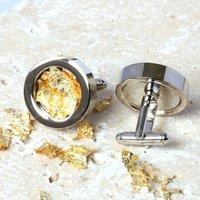 Steel And Gold Leaf Cufflinks, Gold
