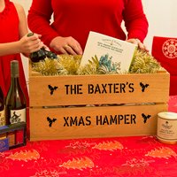 Personalised Large Christmas Gift Crate, Ivory/Green/Red