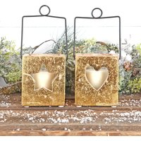 Gold Heart Or Star Candle Holder