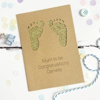 Personalised Footprints New Baby Glitter Cut Out Card, White/Red/Silver