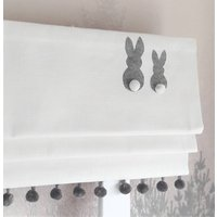 Grey Appliqued Bunnies Blackout Roman Blind
