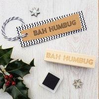 Bah Humbug Christmas Neon Sign Rubber Stamp