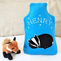 Sleeping Badger Personalised Hot Water Bottle Cover