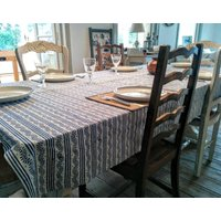 French Blue Block Printed Tablecloth And Napkins, Blue