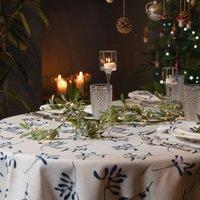 Luxury Designer Christmas Tablecloth Mistletoe White