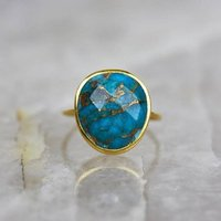 14k Gold Vermeil Statement Copper Turquoise Ring, Gold