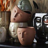 Terracotta Stoneware Face Plant Pot