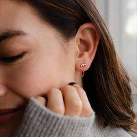 Two Way Minimal Rainbow Geometric Chain Stud Earrings
