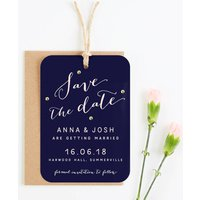 Navy And Blush Save The Date With Gold Gems