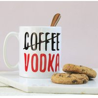 Personalised Coffee / Vodka Mug, Royal Blue/Blue/Red