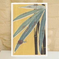 Yellow Snail And Leaf Art Print