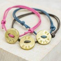 Personalised Button Bracelet, Denim/Chocolate/Black