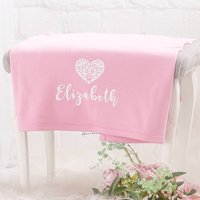Personalised Pink Cotton Heart Blanket, Baby Pink/Pink/Gold