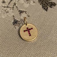 9ct Gold Cross Pendant With Gemstones, Gold