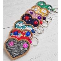 Wide Heart Fabric Key Ring, Lime/Aqua/Red