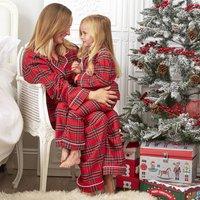 Mum And Daughter Personalised Christmas Tartan Pj