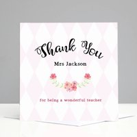 Personalised Floral Teacher Thank You Card