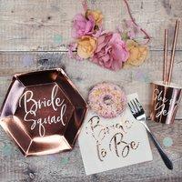 Hen Party Rose Gold Bride Squad Paper Plates