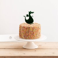 Dragon Party Cake Topper Decoration, Turquoise/Sky Blue/Blue