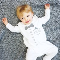 Personalised Christening Baby Sleepsuit, White/Grey/Silver