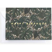Tropical Leaf Animal Print 'Happy Birthday' Card
