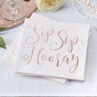 Rose Gold Foiled Sip Sip Hooray Wedding Paper Napkins
