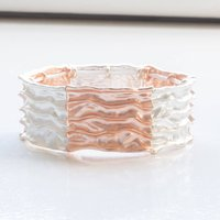 Matt Rose Gold And Silver Stretch Bracelet, Silver