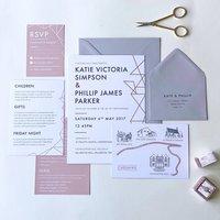 Geometric Foil Wedding Invites