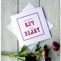 Key To My Heart Personalised Greetings Card