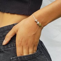 Mixed Metal Hammered Triple Star Bead Bracelet