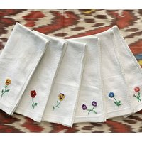 Set Of Six Hand Embroidered Floral Napkins